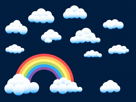 Rainbow and assorted clouds Illustration
