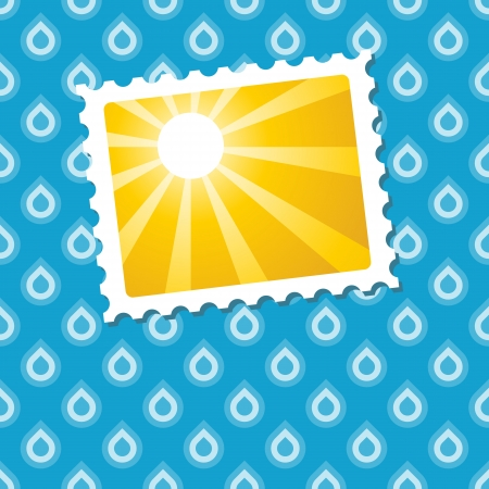 Sunny pic on seamless raindrop background Illustration