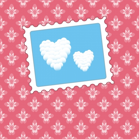 Heart clouds on seamless pink background