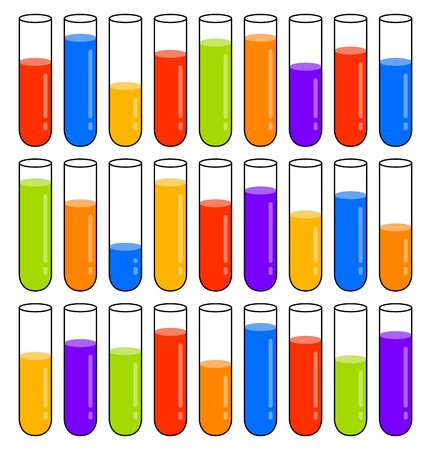 Test tubes with multicoloured liquids