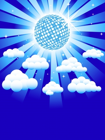 Disco heaven, discoball with fluffy clouds