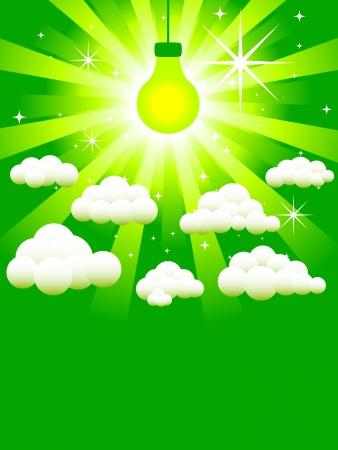 Green light bulb, energy concept Illustration