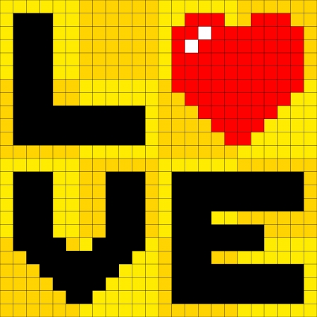 8-bit pixel-art love poster Vector