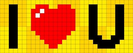 8-bit pixel-art I heart you concept