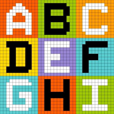 8bit: Lettere pixel-art 8-bit ABC DEF GHI Vettoriali