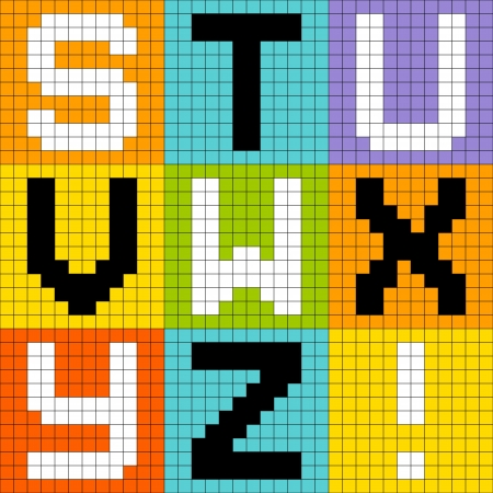 8-bit pixel-art letters STU VWX YZ  Illustration