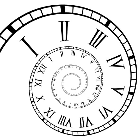 Roman numeral clock spiral time line Illustration