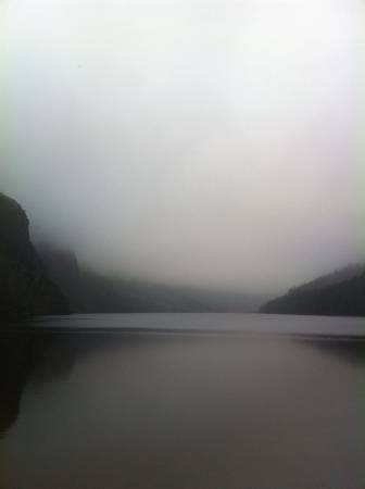 Glendalough lake on a foggy day. Taken in the Wicklow Mountains just outside of Dublin Ireland