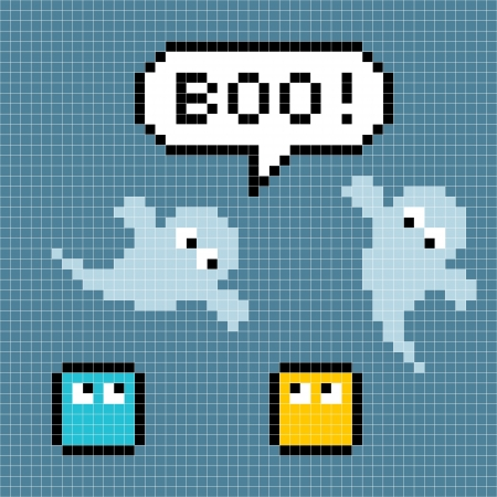 8-bit pixel ghosts say boo. The ghosts, speech bubble and pixel characters are on separate layers to the background.  Each pixel has been left as a square  so you can manipulate further. Illustration