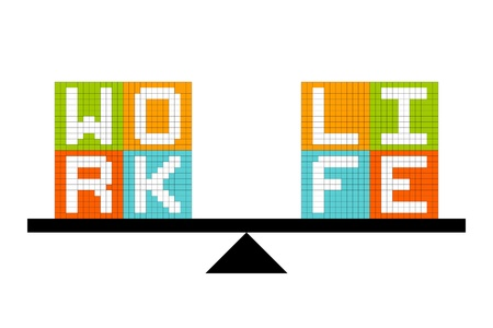 adobe: Work-Life Balance Concept. Created in Adobe Illustrator with assets on separate layers. Illustration