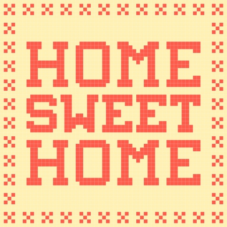8-bit Pixel Home Sweet Home Mat Vector