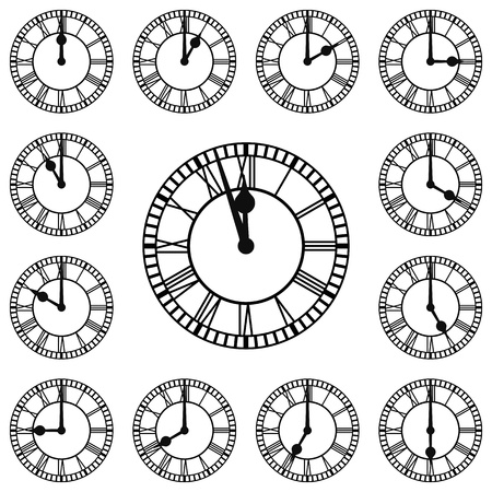 every: Roman numeral clocks showing every hour  Each Hour is on a separate layer Illustration