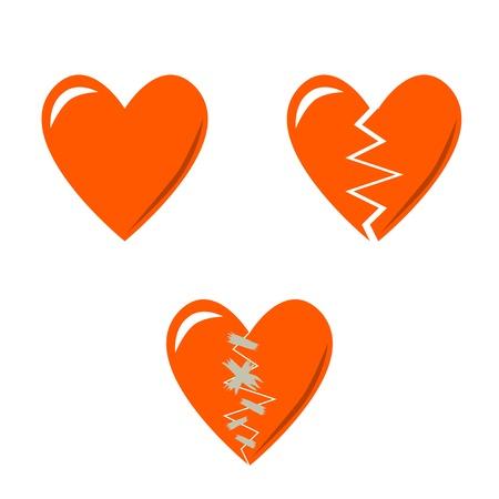 corazon roto: 3 corazones del amor - termine, roto y reparado Vectores