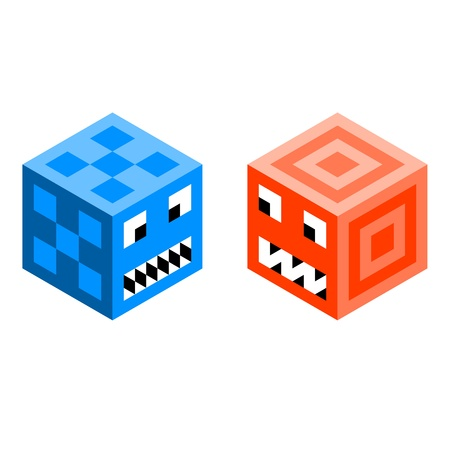 Cube monsters, drawn on a triangle grid