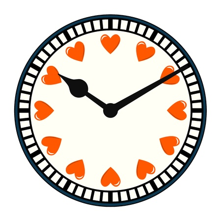 Clock with love hearts in place of numbers