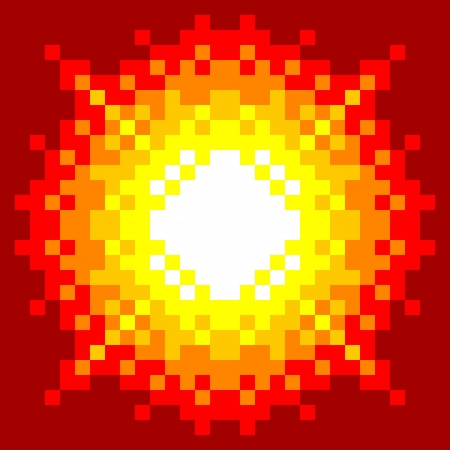 pixelart: 8-Bit Pixel-art Explosion on a Red Background
