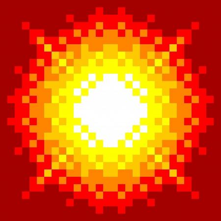8bit: 8-Bit Pixel-Art Explosion su uno sfondo rosso