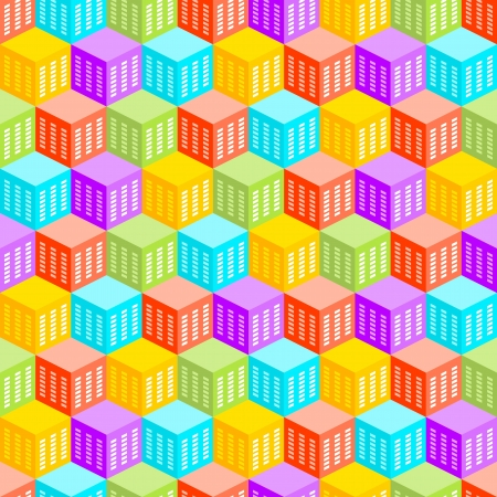 Abstract cubic city seamless pattern formed out of heaxgonal blocks