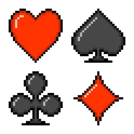 Card suits: heart, spade, club, diamond depicted in 8-bit pixel art
