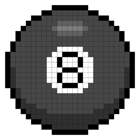 Magic 8-ball depicted in 8-bit pixel art form Illustration