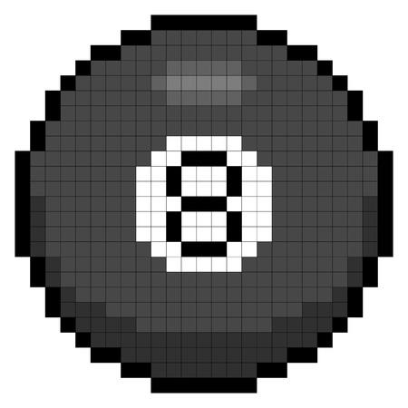 bola ocho: Magic 8-ball se muestra en forma de arte pixel de 8 bits