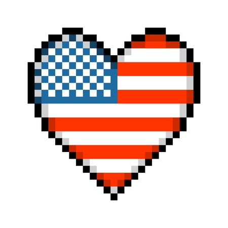8-bit pixel heart with the pattern of the american stars and stripes flag