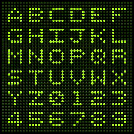 Alphabet letters and numbers on an LED display matrix