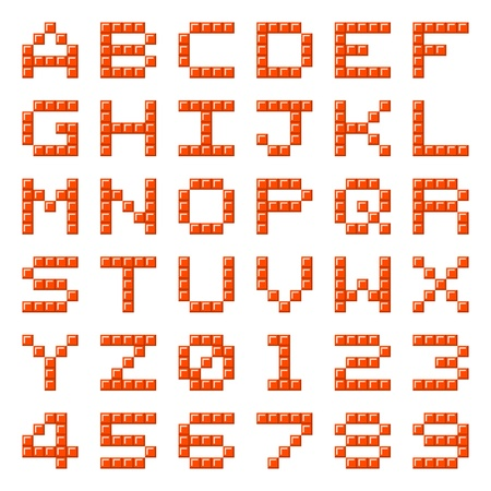 alphanumeric: Alphabet letters and numbers made out of red pixel blocks Illustration