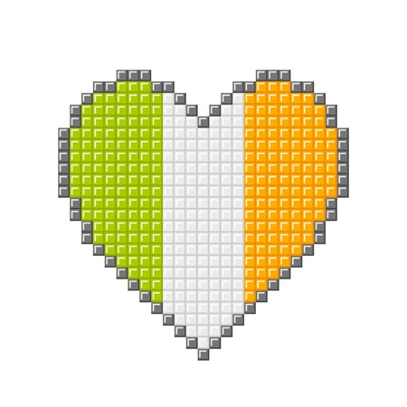 Love heart with Irish flag made out of pixel blocks Illustration
