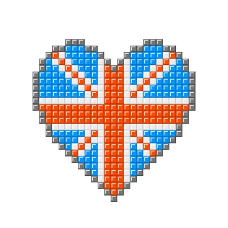 Love heart with British Union Jack pattern, made out of pixel blocks