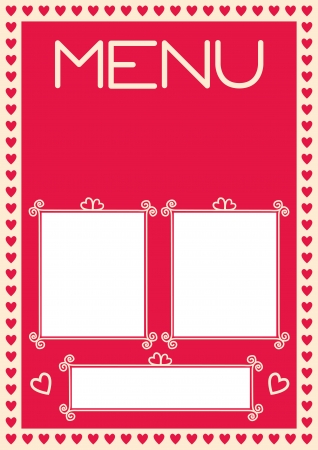 Valentines menu template. Setup for A4. Assets are separated layers