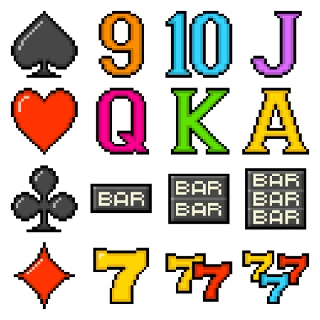 Popular slot machine symbols depicted in 8-bit pixel art form