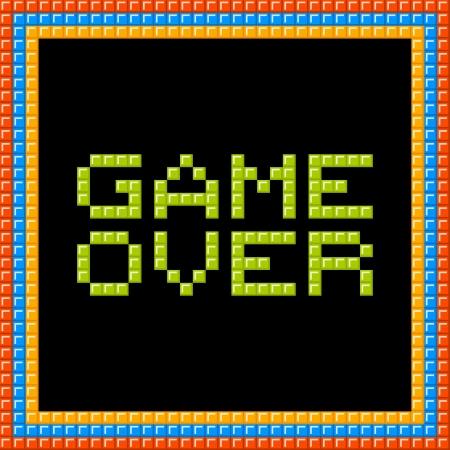renuncia: Game over mensaje escrito en bloques de p�xeles. Los activos est�n en capas separadas Vectores