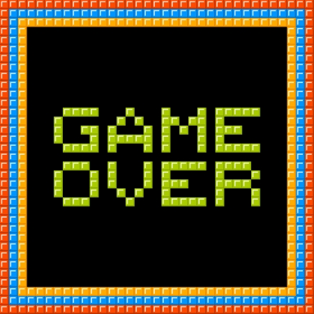Game over message written in pixel blocks. Assets are on separate layers Vector