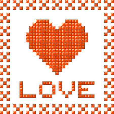 Love heart made out of red pixel blocks. Assets are separated on separate layers Иллюстрация