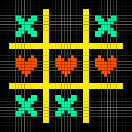 toe: 8-bit Pixel Art Tic Tac Toe Game With Kisses and Love Heart Symbols