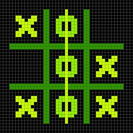 Tic Tac Toe winning game position depicted in 8-bit pixel art Illustration