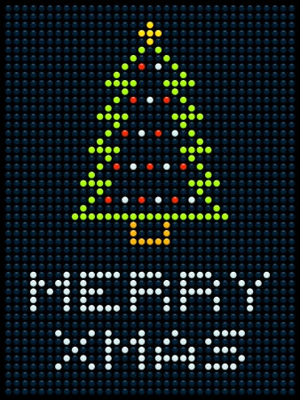 LED display with a Christmas tree and Merry Xmas message