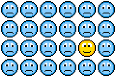 Loads of blue sad faces and one happy face, conveying the idea of depression and positive thinking Vector