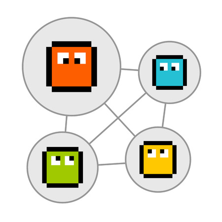 social networking: Personaggi pixel in Bolle di social networking. Le attivit� sono su livelli separati