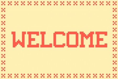 doormat: Pixel Welcome Matt in with a Cross Border and Plain Background