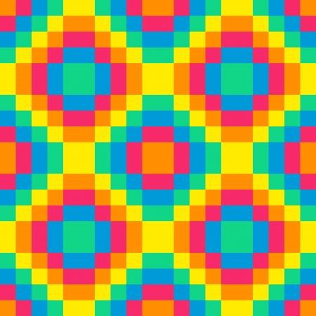 8-bit seamless rainbow diamond pattern background tile using pink, orange, yellow, green and blue Illustration