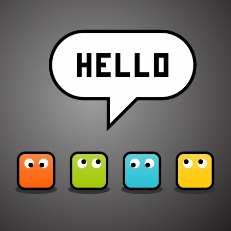 say hello: Pixel characters say hello against a grey grid background