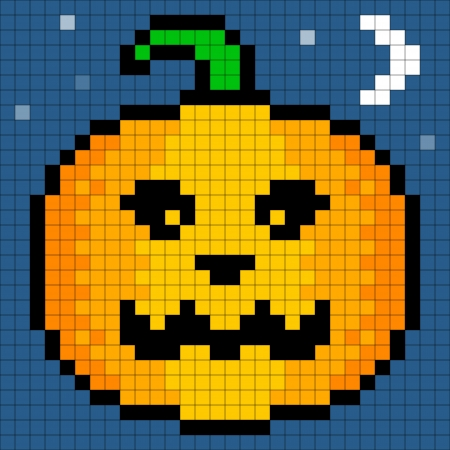 intact: 8-bit Pixel Art Halloween Pumpkin. Eyes, pumpking and background are on separate layers. Pixel grid is still intact for edits