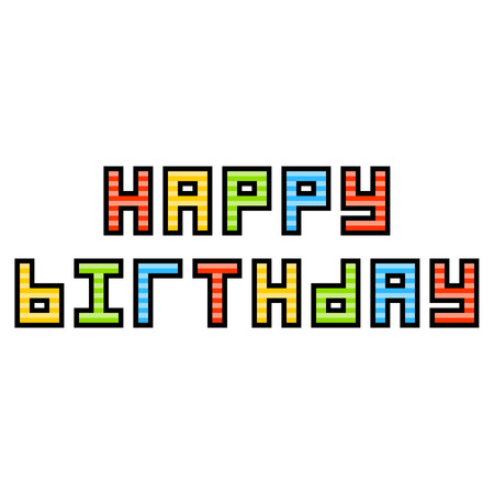 8-Bit Pixel Art Happy Birthday Message. Colors are saved as global for easy modification