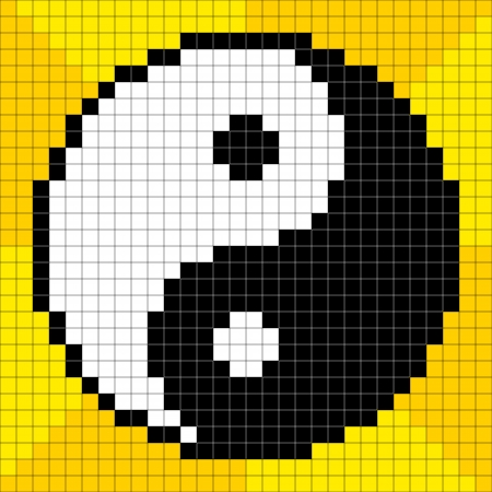 pixelart: 8-bit Pixel-art Yin Yang Symbol on a Yellow Background. Each pixel is a separate vector square and assets are on separate layers