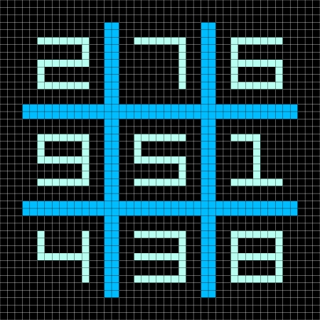 8-bit Pixel Art Magic Square with Numbers 1-9. Assets separated onto separate layers