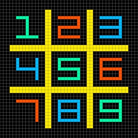 8bit: 8-bit Pixel Art con i numeri 1-9 in una griglia di sudoku. Beni separati su livelli separati Vettoriali