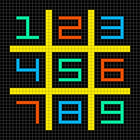 8-bit Pixel Art with Numbers 1-9 in a Sudoku Grid. Assets separated onto separate layers