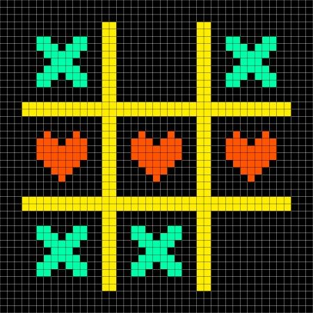 8-bit Pixel Art Tic Tac Toe Game With Kisses and Love Heart Symbols